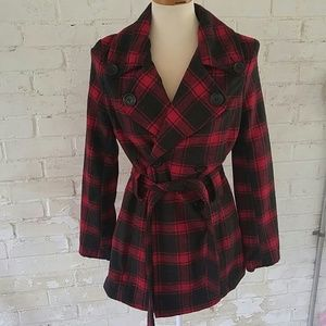 HP Jou Jou belted red and black plaid jacket S